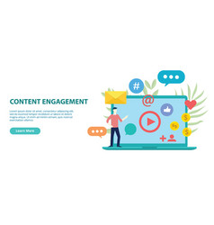 Content engagement website design template banner vector