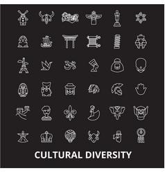 cultural diversity editable line icons set vector image