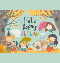 Cute children meeting autumn wearing warm clothes vector