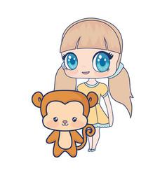 cute smiling anime girl monkey baby vector image