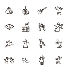 Dancing signs black thin line icon set vector