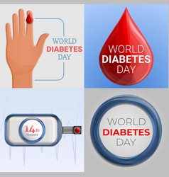 Diabetes day banner set cartoon style vector