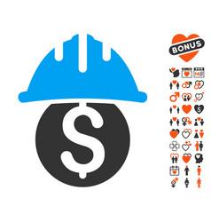 Dollar safety helmet icon with valentine bonus vector