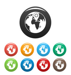 earth navigation icons set color vector image