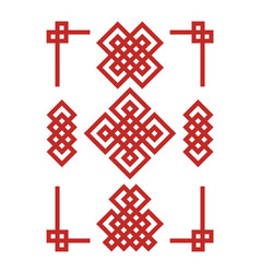 Edless chinese knots set vector