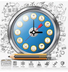 Education And Learning Clock Step Infographic vector