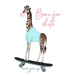 Fashion hipster giraffe on skateboard vector