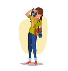 Female photographer studio photo taking vector