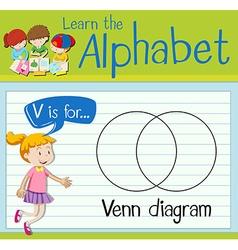 Flashcard letter v is for venn diagram vector