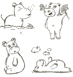 Funny hippo vector