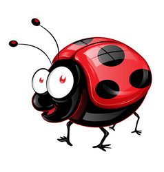 funny ladybug has big eyes emoji cartoon vector image