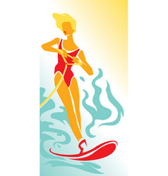 girl on water skiing vector image