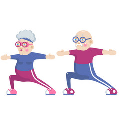 grandma and grandpa doing sport vector image
