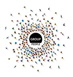 Group big people crowd on white background vector