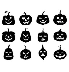 Halloween funny horror pumpkin set vector