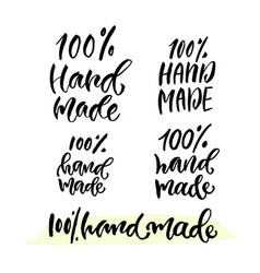 Hand lettering calligraphy label for hand made vector