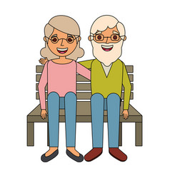 happy couple grandparents characters sitting in vector image