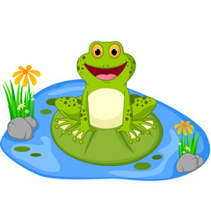 Happy frog cartoon sitting on a leaf vector
