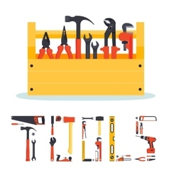 Hardware tools box with letters vector