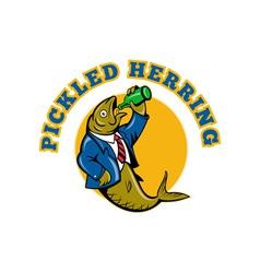 Herring fish business suit drinking beer bottle vector image