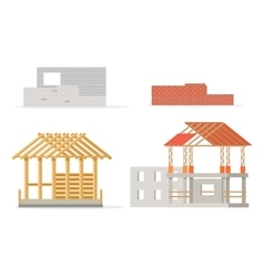 Industrial Process of Building New House Stages vector image