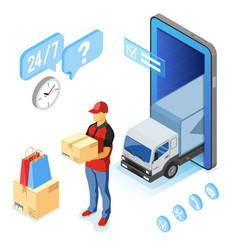 Isometric internet shopping delivery and logistics vector
