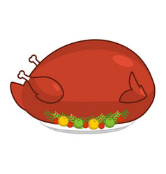large big turkey for thanksgiving baked giant vector image