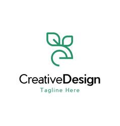 Letter e leaf naturally logo vector