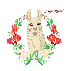 Llama with flowers wreath animals sketches vector
