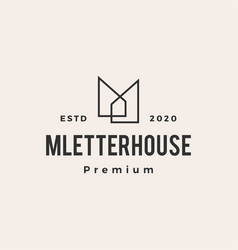 M letter house hipster vintage logo icon vector