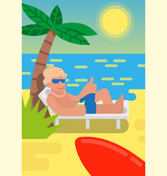 man relax on beach vector image