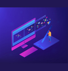Motion graphic design isometric 3d concept vector