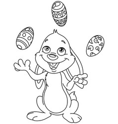 outlined bunny juggling easter eggs vector image