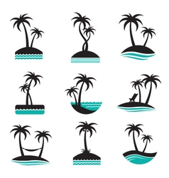 Palm labels set vector