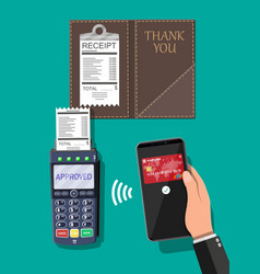 Pos terminal and smartphone payment transaction vector