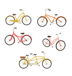 Retro bycicles set vector