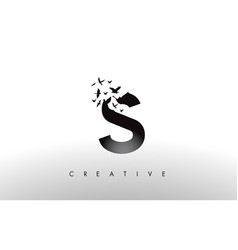 s logo letter with flock of birds flying and vector image