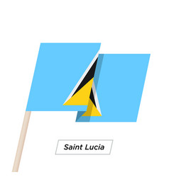 saint lucia ribbon waving flag isolated on white vector image