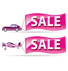 Sale flyer coming by car and airplane vector image