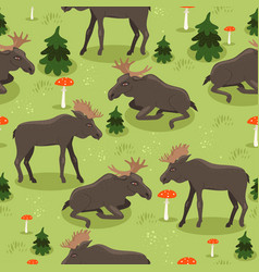 seamless pattern with moose fly agaric vector image