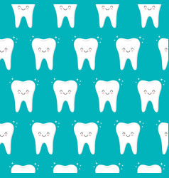 seamless pattern with teeth on a blue background vector image