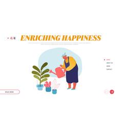 senior woman gardening hobwebsite landing page vector image