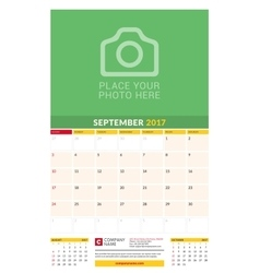 September 2017 Wall Monthly Calendar for 2017 vector image