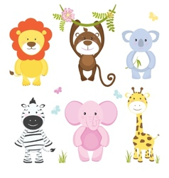 Set cute cartoon wild animals vector