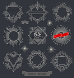 set line design emblem sign and hipster labels vector image