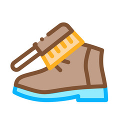 shoe brushing icon outline vector image