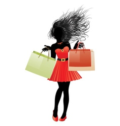 Shopping girl in red dress silhouette2 vector