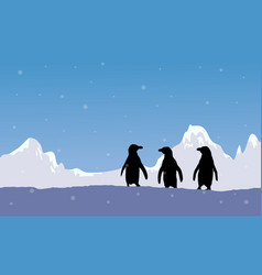 Silhouette of penguin with snow mountain vector