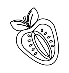 Silhouette strawberry fruit icon stock vector