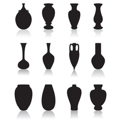 Silhouettes of vases vector